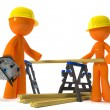 Stock Photo: Husband Wife Contractors with Hard Hats