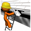 Stock Photo: 3d Orange MRoof Worker Working on Gutters