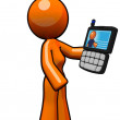 Stock Photo: Orange Womwith Smart Phone PDA