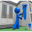 Blue Man Painting His House with Paint Roller — Stock Photo
