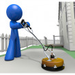 3d Blue Man with Concrete Cleaner - Foto Stock