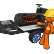 Contractor with BBQ Smoker Mobile Grill — Stock Photo