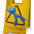 3d Blue Man Yellow Caution Sign — Stock Photo