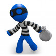 Stock Photo: 3d Blue Man thief running with bag of loot