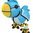 Stock Photo: Little Blue Social Network Marketing Bird Robot Character