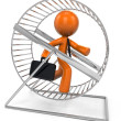Stock Photo: 3d Orange MRunning in Hamster Wheel