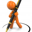 3D Orange Man Designing With Pen — Stock Photo