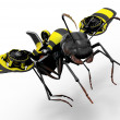 Stock Photo: Worker Ant with Wasp Flying Mechanism