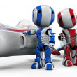 Two Robots with Hover Rockets — Stockfoto