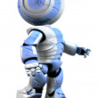 Blue and White Robot Beaten Up - Stock Photo