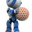 Blue Robot Holding Futuristic Ball - Stock Photo