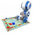 Blue Robot Playing Board Game — Stock Photo