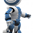 Blue White Robot Walking Vector Derivative - Stock Photo