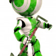Green Robot Environmental Worker with Hard Hat — ストック写真