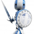 Robot White Knight Warrior — Stock Photo