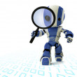 Glossy Robot with Magnifying Glass — Stock Photo