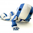 Glossy Blue Robot Reclined — Stock Photo