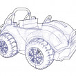 Technical drawing of an off road vehicle. - Stock Photo