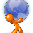 Orange Man Carrying Globe — Stock Photo