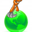 Orange Man Cleaning the Earth — Stock Photo