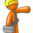 Stock Photo: Orange MConstruction Worker Presenting