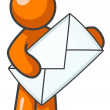 Orange Man Holding Envelope — Stock Photo