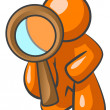 Orange Man Looking Through Magnifying Glass — Stock Photo