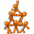 Orange Man Human Pyramid — Foto Stock