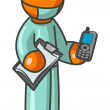 Orange Man Surgeon holding Cell Phone — Stock Photo