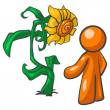 Stock Photo: Orange MTalking to Sunflower
