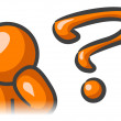 Orange Man Question Mark Thinking - Stock Photo