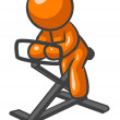 Orange Man Work Out Bike - Stock Photo