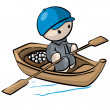 Royalty-Free Stock Photo: Little Man in Rowboat