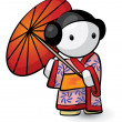Geisha Holding Umbrella In Kimono Looking Cute — Stock Photo