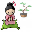 Stock Photo: Japanese WomWith Banzai Tree Background
