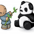 图库照片: Chinese Man Feeding Panda Bamboo