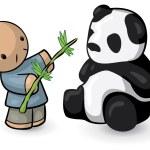 中国の男は餌のパンダ竹 — ストック写真