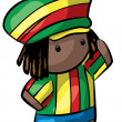 Rasta Hat Rastafarian Cute Dreadlocks Character — Stock Photo