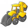 Stock Photo: Backhoe Bulldozer Cartoon Style