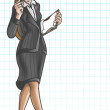 Cartoon Business Woman Walking — Stock Photo