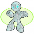 Foto de Stock  : Metallic Robot Pointing at Viewer