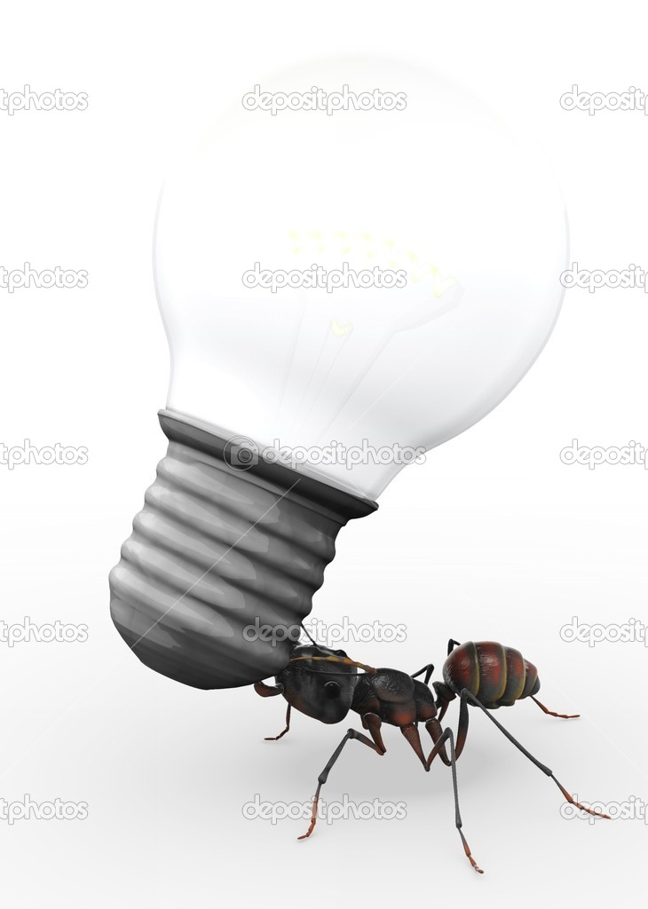 An ant carrying a light bulb which is evidently much, much heavier than he is.   Stock Photo #7536945