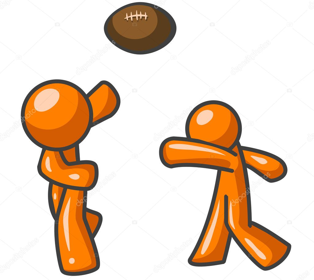 Two orange men playing football together, probably just for some freindly competition. — Stock Photo #7537698