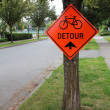 Detour Sign for Cyclists - Stock Photo