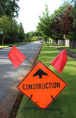 Sign Warns of Construction — Stock Photo