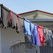 Outdoor Laundry Drying on a Clothesline — Stock Photo