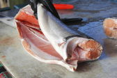 Filleting Salmon — Stock Photo