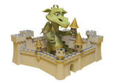 Dragon and Castle — Stock Photo