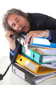Falling asleep durning phonecall — Stock Photo