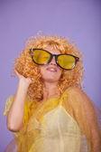 Woman in yellow — Stock Photo
